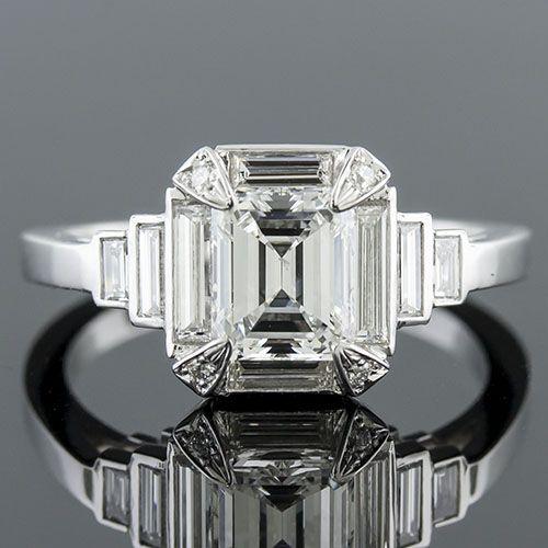 modern vintage inspired fancy baguette diamond halo and baguette sides platinum engagement ring semi mount 1417 - Modern Wedding Rings