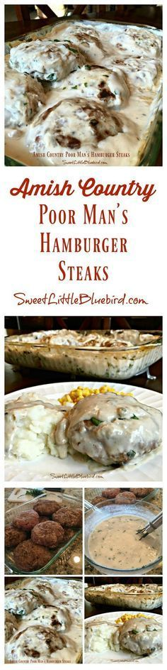 """AMISH COUNTRY POOR MAN'S HAMBURGER STEAKS - An old fashioned hamburger steak recipe. The """"steak"""" patties are made with cracker crumbs, milk and seasonings, baked in a delicious mushroom gravy. Down home comfort food the whole family will love, including the kids. Simple to make, so good.   SweetLittleBluebird.com"""