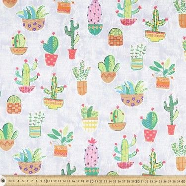 Plants Printed Poplin Grey & Fluro 112 cm