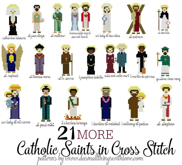 Well, I'm back today with more saint cross stitch saint patterns–21 more to be exact. Two weeks ago I released 40 Catholic Saints in Cross Stitch and I was amazed at the response. I s…
