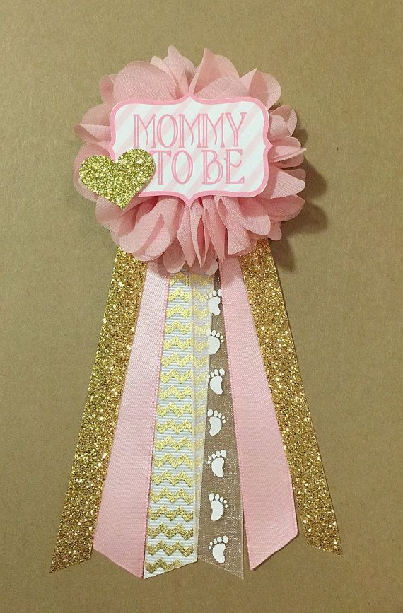 Pink And Gold Baby Shower Pin Mommy To Be Pin Flower Ribbon Corsage Glitter  Gold Glitter