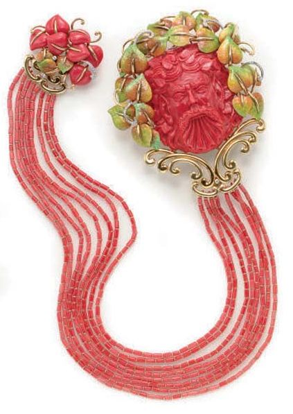 Carved coral and coral tubular links, with slight white veining, numerous circular-cut diamonds, nice color and clarity, enamel intact, 19 ins., signed G. Onorato.