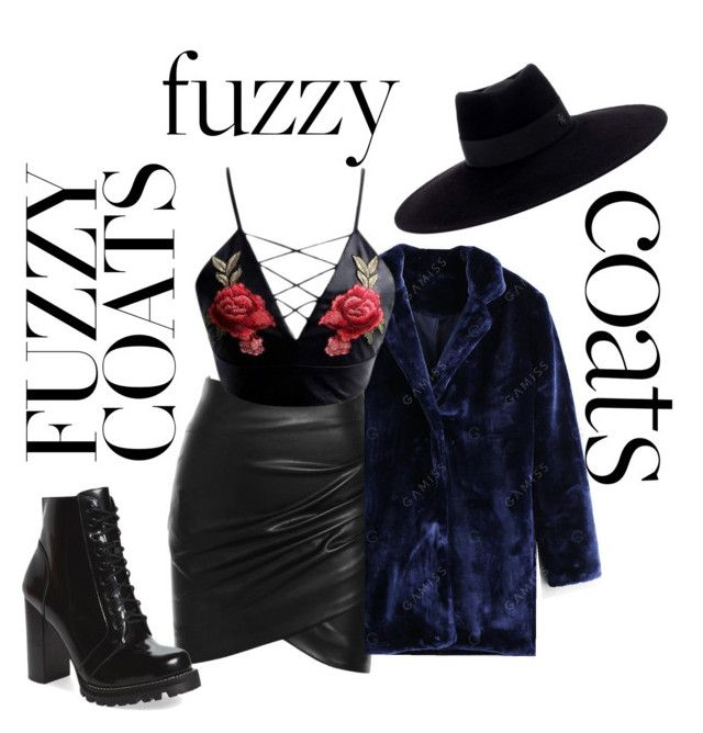 """""""Fuzzy Coats"""" by maddy-s8674 on Polyvore featuring WithChic, Jeffrey Campbell and Maison Michel"""