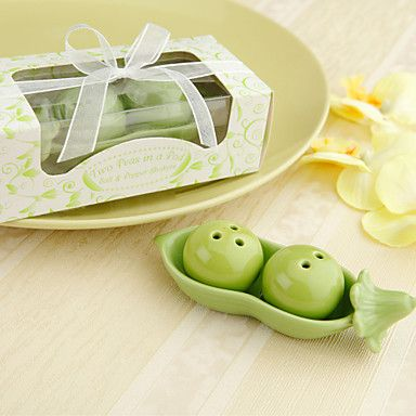 """Two Peas In A Pod"" Salt & Pepper Shakers Favors – USD $ 2.99"