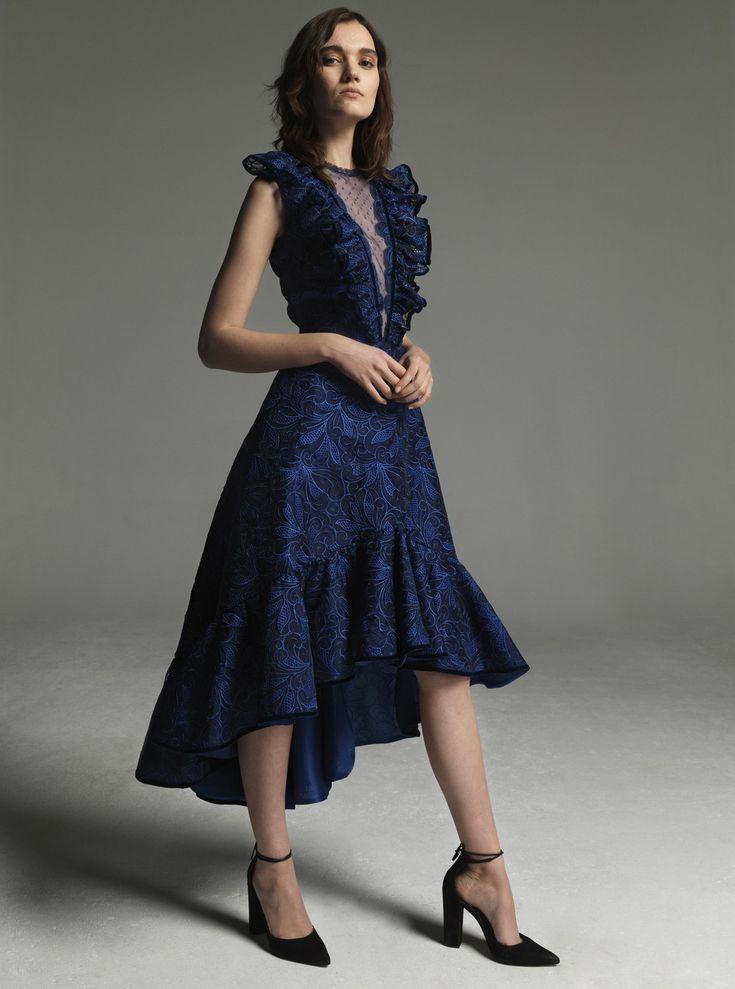 Costarellos Fall Winter 2017/18- FW1733<br />Plunging Neckline, Sleeveless 'A' line Midi Dress
