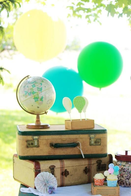 Vintage Balloon Themed 2nd Birthday Party: Balloons Party, Vintage Suitca, Globes, Party Idea, Kids Party, Vintage Balloons, Hot Air Balloons, Weddings Balloons, Birthday Party