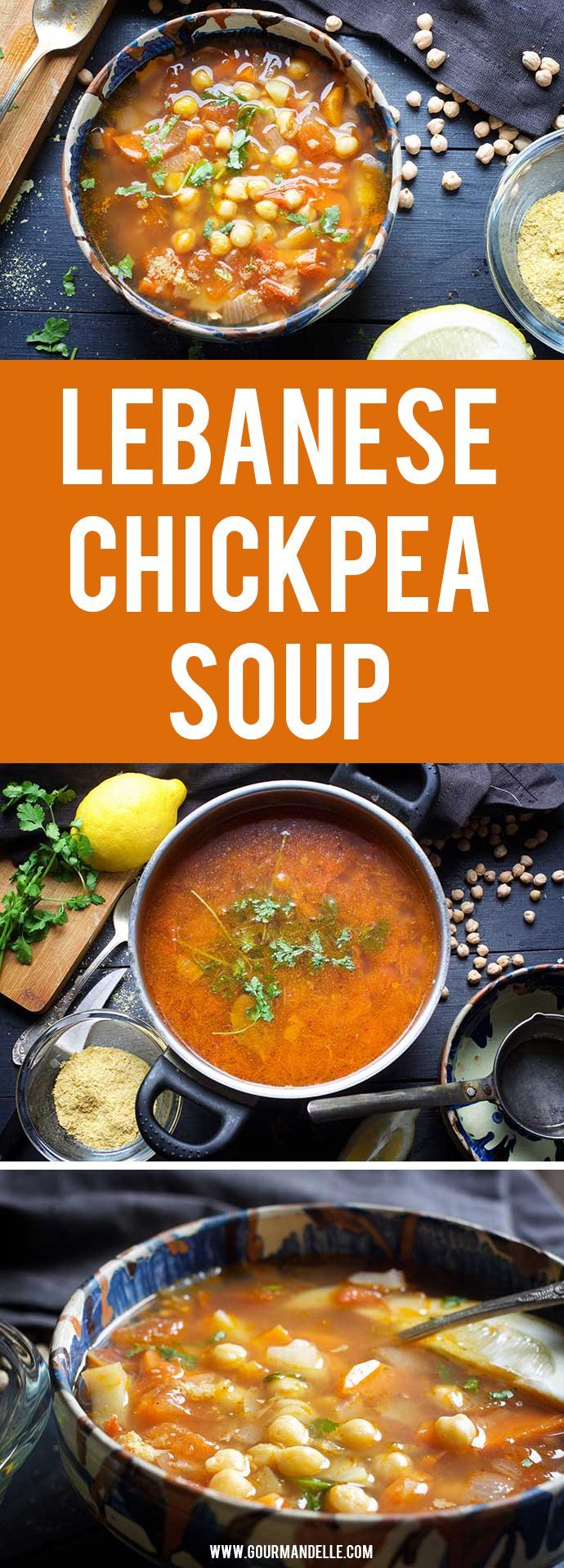This delicious Lebanese chickpea soup is the perfect Middle Eastern-inspired comfort soup! It's bursting with amazing flavors and very filling due to chickpeas, potatoes, and carrots.  #lebanese #chickpea #soup #veganrecipes