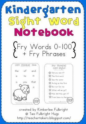 Kindergarten Sight Word Notebook