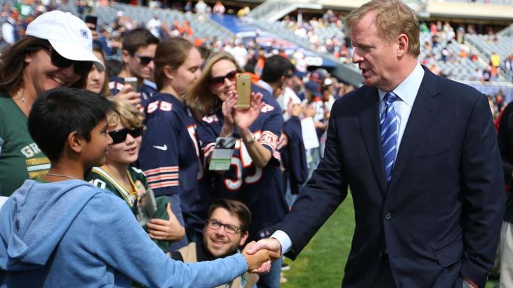 Report: NFL looking into shortening preseason schedule - By Jesse Reed, Sportsnaut - September 13, 2015 - 10:05 PM EST - (Photo:Sep 13, 2015; Chicago, IL, USA; NFL commissioner Roger Goodell shakes the hand of a fan prior to a game between the Chicago Bears and the Green Bay Packers at Soldier Field. Mandatory Credit:Dennis Wierzbicki - © USA TODAY Sports)