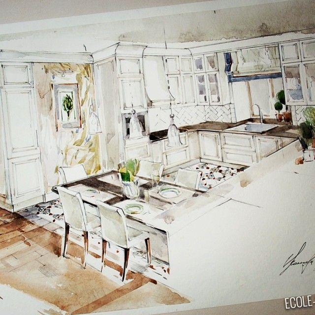 Еще из нового летнего проекта... Кухня в загородном доме. #ecolestudio  #interior  #decor  #эскиз_интерьера  #акварель  #эскиз  #проект