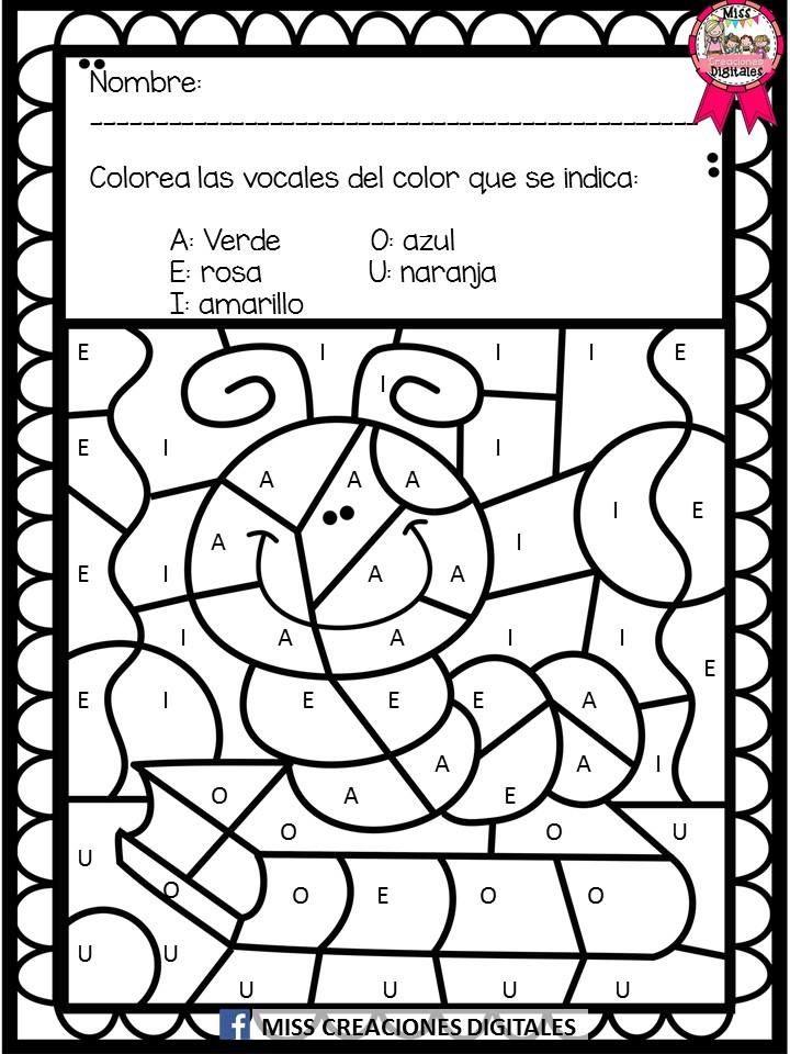 Colorea y descubre el dibujo con sílabas, letras y números para ...