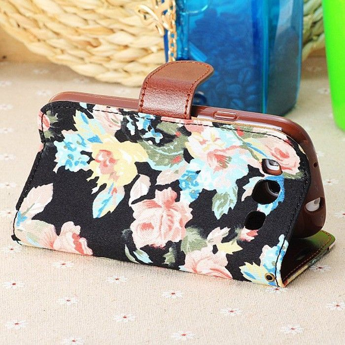 Flowers Pattern Protective Case Cover with Stand