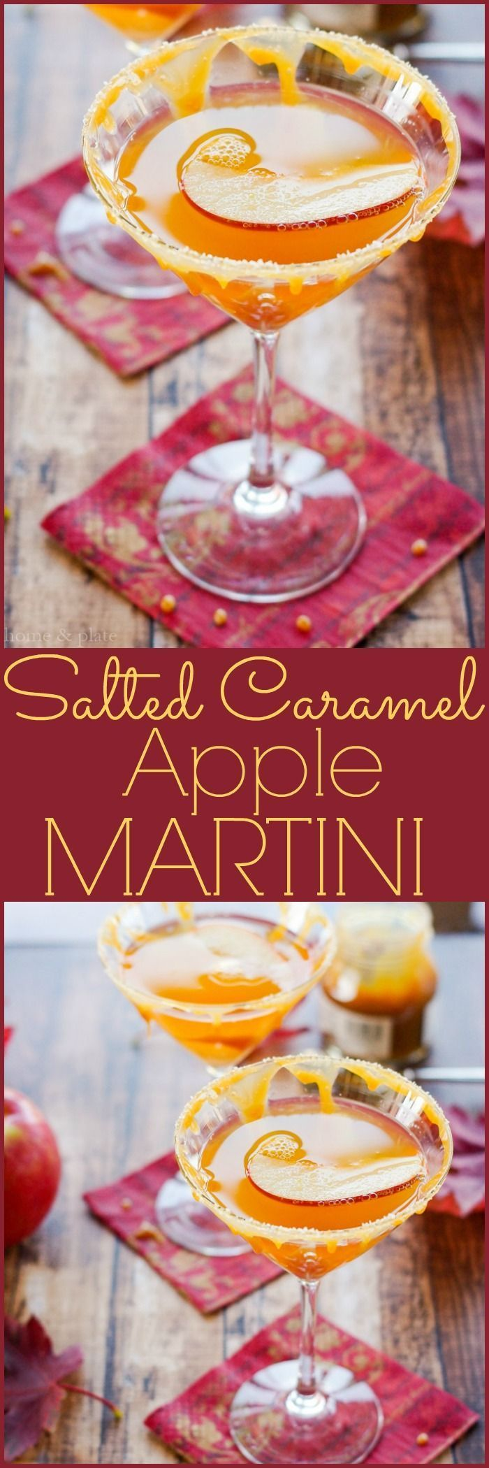 Salted Caramel Apple Martini   http://www.homeandplate.com   Fresh apple cider and caramel flavored vodka make up this fabulous fall drink.