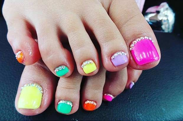 Colorful Toe Nail Design with Rhinestones