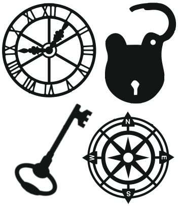 Mini Mica Masks - Set of 4 clock face, lock, key, navigation rose silhouettes