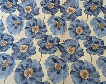 Blue Flanders Poppies Curtain Fabric 100% Cotton Panama. Crafts, Home Decor, Soft Furnishings, Cushions, Bags