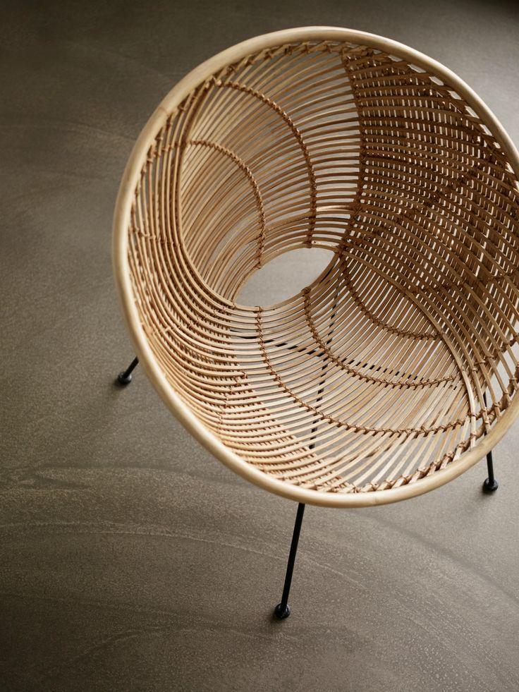 Hubsch Rattan Chair Round Nature Black Black Chair Hubsch