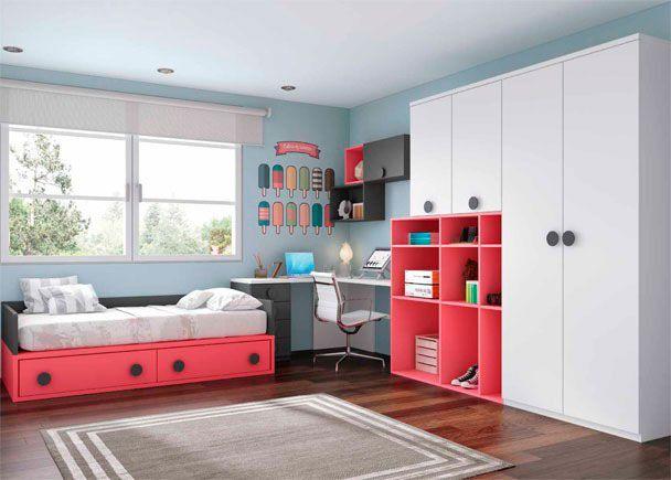 dormitorio juvenil con armario y zona de estudio