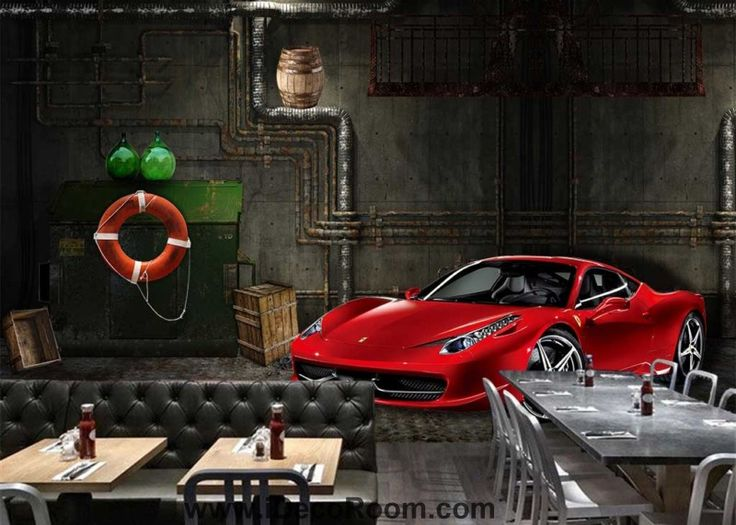 Red Racing Car In Garage Boat Compartment Art Wall Murals Wallpaper Decals Prints Decor IDCWP-JB-000873