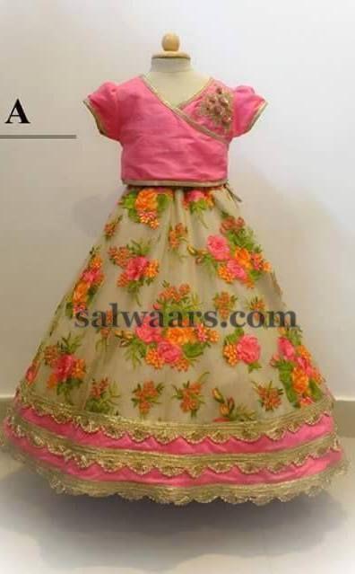 Beige Rose Floral Skirt - Indian Dresses