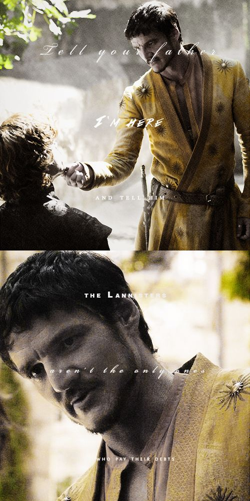 Tyrion Lannister & Oberyn Martell - Two Swords - Fangirl - Game of Thrones