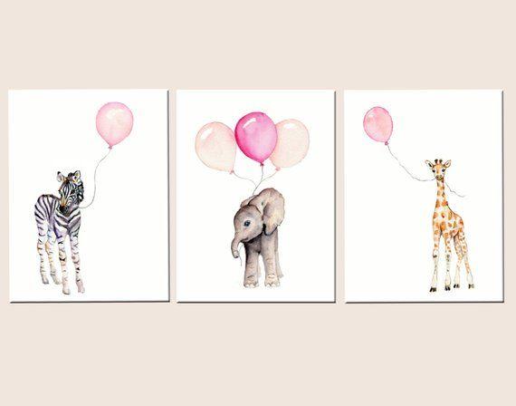 Kindergarten-Dekor Mädchen, Baby-Mädchen Kindergarten-Wandkunst, pastellrosa Aquarell, Safari-Kinderzimmer Drucke, rosa Kindergarten, Mädchen Zimmer Dekor, rosa und grau