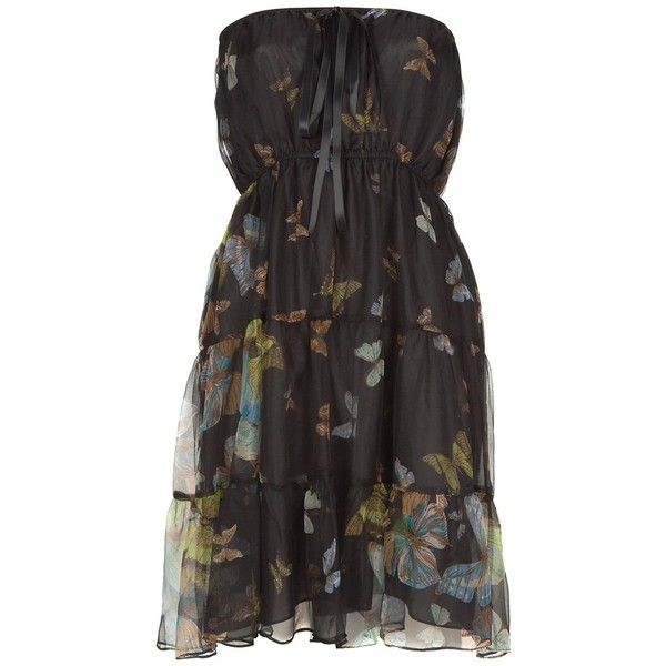 KITE AND BUTTERFLY Silk bandeau dress ($535) ❤ liked on Polyvore featuring dresses, women, butterfly pattern dress, gathered waist dress, ruched waist dress, kite and butterfly and butterfly print dress
