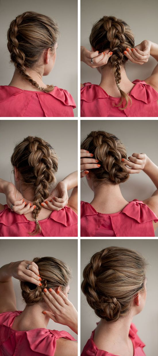 french braided updo by clip on brown real hair extensions for short hair