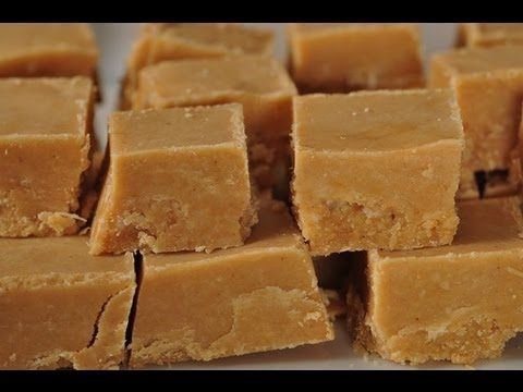 Joy of Baking's peanut butter fudge video recipe. Easier than regular fudge (no candy thermometer required) and perfect for holiday gifts!  I might go crazy and add dried fruit and spices for some PBJ fudge.