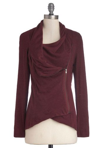 Airport Greeting Cardigan in Burgundy, #ModCloth