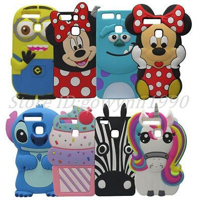 3D Cartoon Character Silicone Rubber Case Back Cover For Huawei Ascend P9 Lite