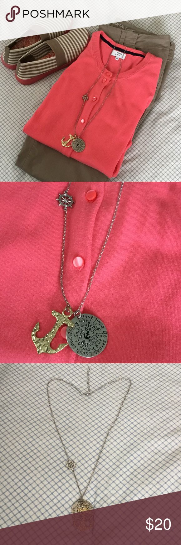 New Listing 🛳Merle Norman nautical necklace. Let's go sailing.  Cruise anyone?  Necklace is so cute and is fairly new.  Used on a cruise one time.  Excellent condition.  Length is 16 1/2 inches long with a 3 inch clasp.  Love this necklace❤️ Words of encouragement printed on silver round part. Merle Norman Jewelry Necklaces