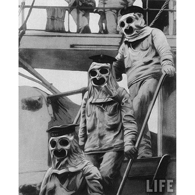#mulpix 1916. Sailors aboard an Austrian battleship wearing their protective suits and gas masks, during World War I.   #WWI  #WW1  #war  #Austria  #Austrian  #sailor  #warship  #ship  #gas  #mask  #suit  #creepy  #historyinpictures  #historicalpix
