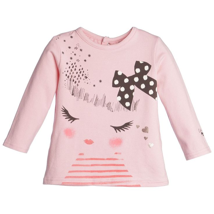 Girls Pink T-Shirt with Girl Face , Catimini, Girl