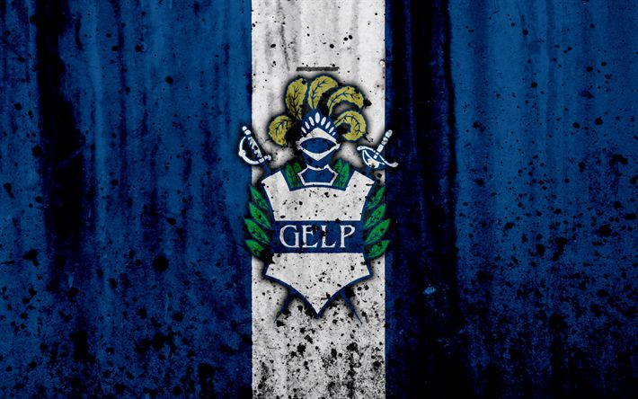 Download wallpapers 4k, FC Gimnasia La Plata, grunge, Superliga, soccer, Argentina, logo, Gimnasia, football club, stone texture, Gimnasia La Plata FC