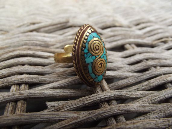 Boho ring brass boho ring with stone brass by silveringjewelry