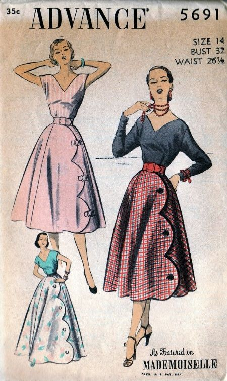 """Advance 5691. Love the scallops. Notice the size vs. measurements. When people say...""""But Marilyn Monroe was a size 16""""...it was back THEN, not NOW. The numbers have changed ladies. Madison Ave. and the fashion industry pandering to our vanity. But, it's STILL a cute skirt!!"""