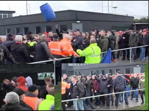 FC United of Manchester and Sporting Khalsa tie marred by violence This is the shocking moment violence erupted at an FA Cup match - when hooligans started a riot by throwing a flare and a BIN.