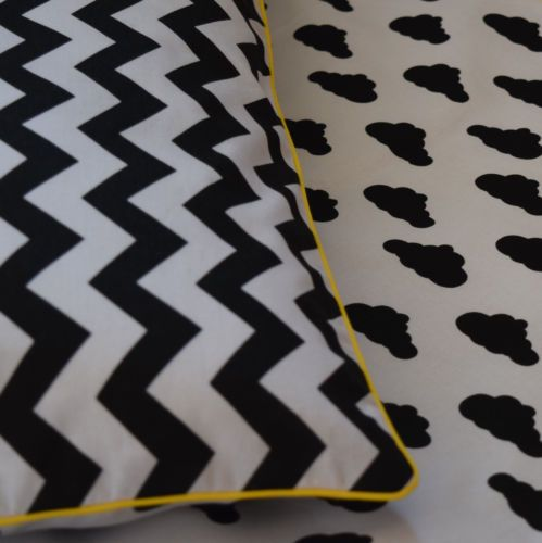 NEW-100-COTTON-Childrens-Cot-Bed-Duvet-Cover-Set-Black-White-yellow-piping