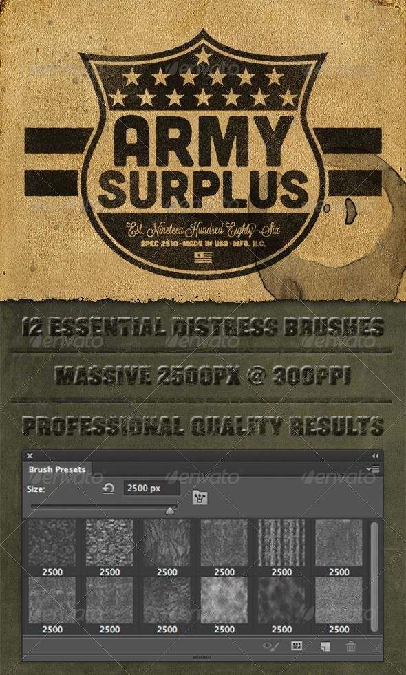 Checkout my newest photoshop brush pack - 12 Photoshop Lite Distress Texture Brushes - Download it now!