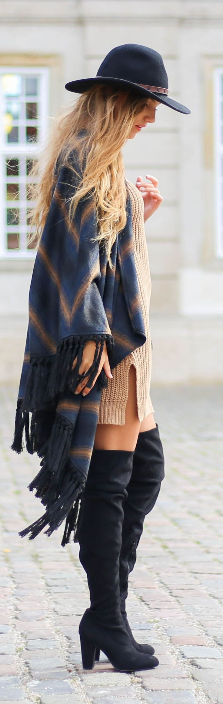 BOHO ❈ BABE . Blog By Sandra Black Suede O T K B Camel Sweater Dress Grey Fringed Poncho Fall Inspo