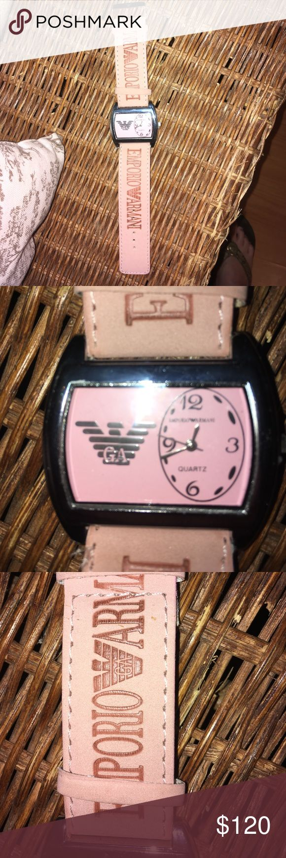 Emporio Armani watch Gorgeous authentic Emporio Armani. Water Resistant and stainless steel. In good condition it just needs a new battery. There are no visible scratches on the watch face. Beautiful light pink color. 💗 Emporio Armani Accessories Watches