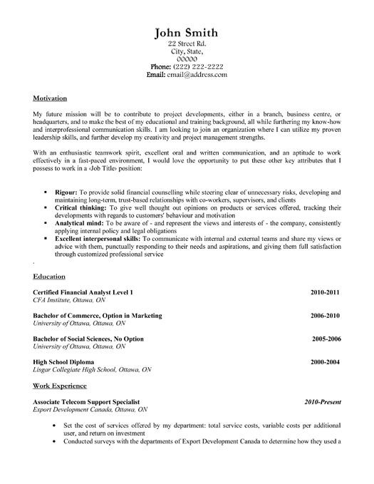 36 best Best Finance Resume Templates \ Samples images on - commercial finance manager sample resume