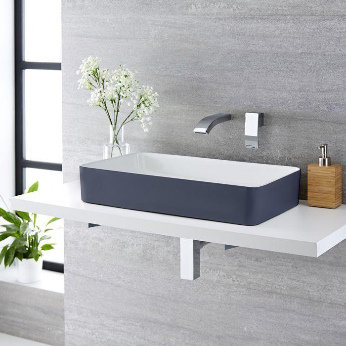 Milano Altcar Stone Grey Modern Rectangular Countertop Basin 600mm X 340mm No Tap Holes Countertop Basin Big Bathrooms Grey Exterior Bathroom modern vanity units milano