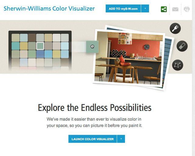 Sitios gratis para visualizar el color de las paredes: Sherwin-Williams Color Visualizer