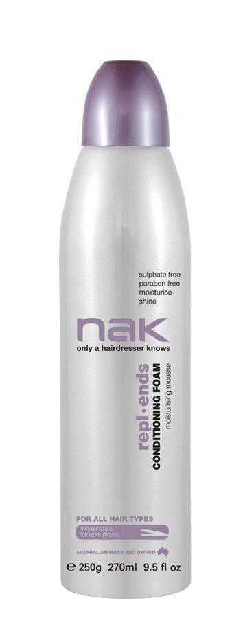 nak repl.ends conditioning foam / designed for all hair types #sulphatefree #parabenfree #moisturise #shine