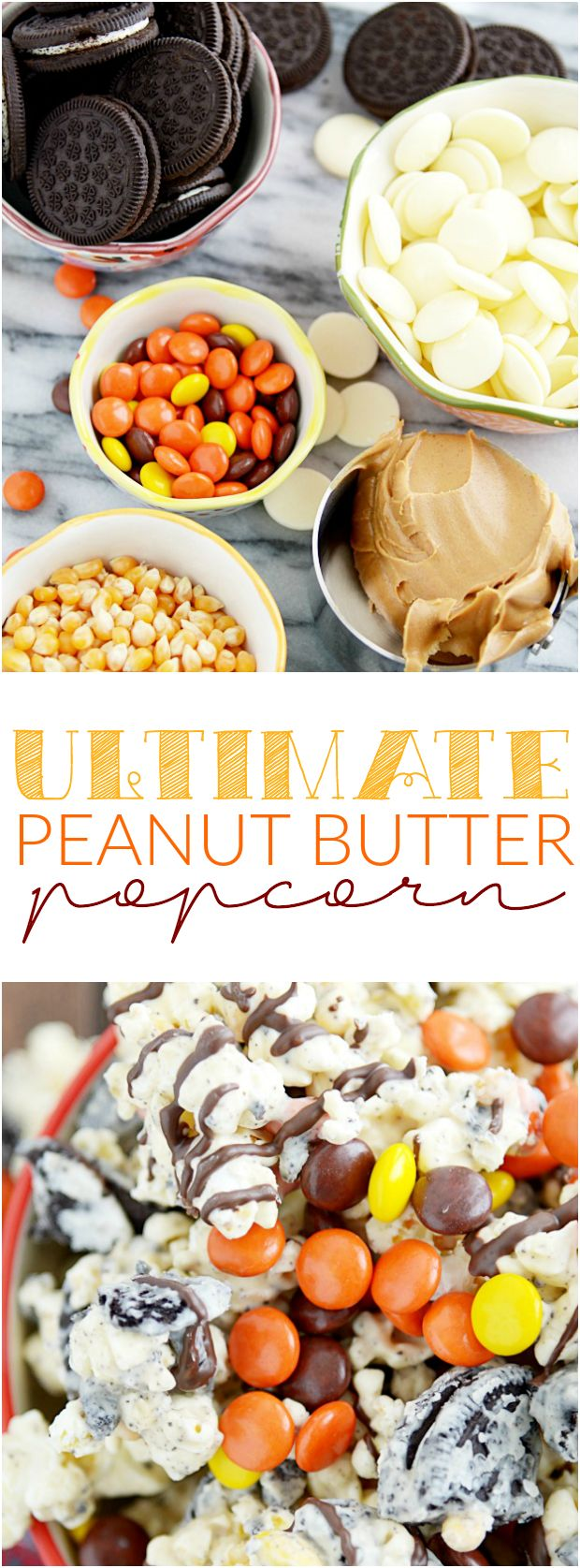 This recipe for Peanut Butter Popcorn is so good! It has Oreos, peanut butter, and Reese's Pieces. Quick and easy treat!