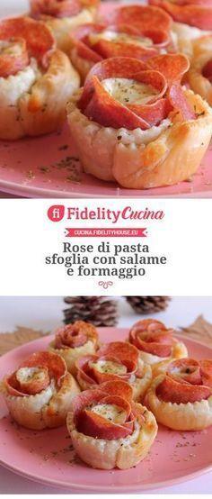 Rose di pasta sfoglia con salame e formaggio