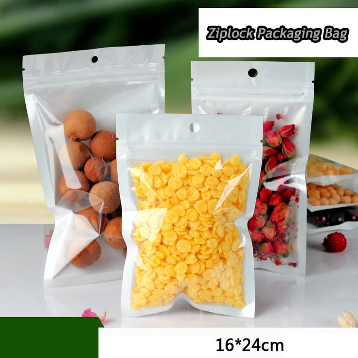 100pcs/lot 16cm*24cm*160mic High Quality Clear+White Candy Bags Food Packaging Pouches Clear Plastic Zip Lock Bags