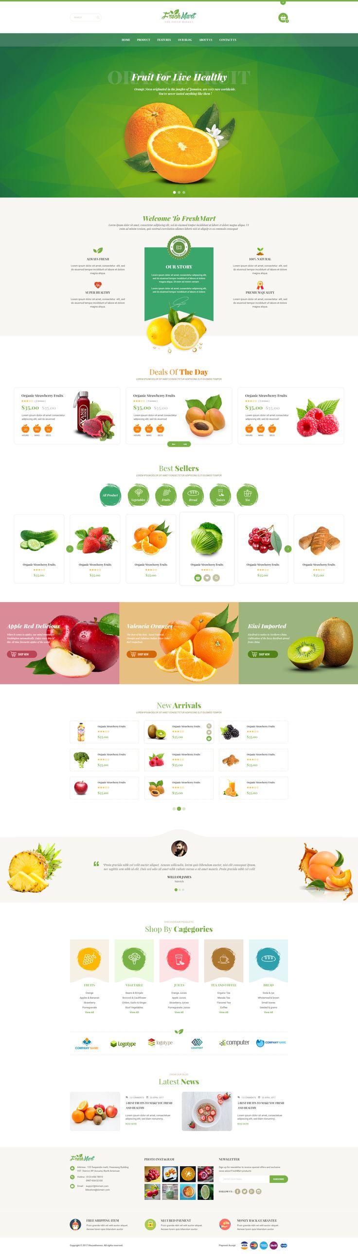 FreshMart - PrestaShop 1.7 Theme - Organic, Fresh Food, Farm #Delightful Organic #farm #food • Download ➝ https://themeforest.net/item/freshmart-prestashop-17-theme-organic-fresh-food-farm/20810844?ref=pxcr
